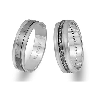 White Gold Classical Wedding Band w/ Diamonds