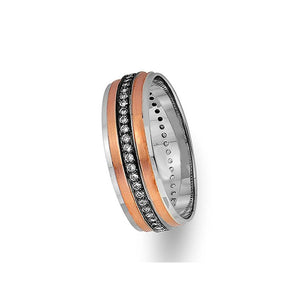 Rose and White Gold Classical Wedding Band w/ Diamonds