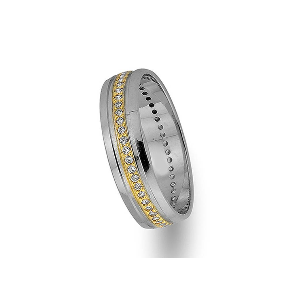 Yellow and White Gold Classical Wedding Band w/ Diamonds