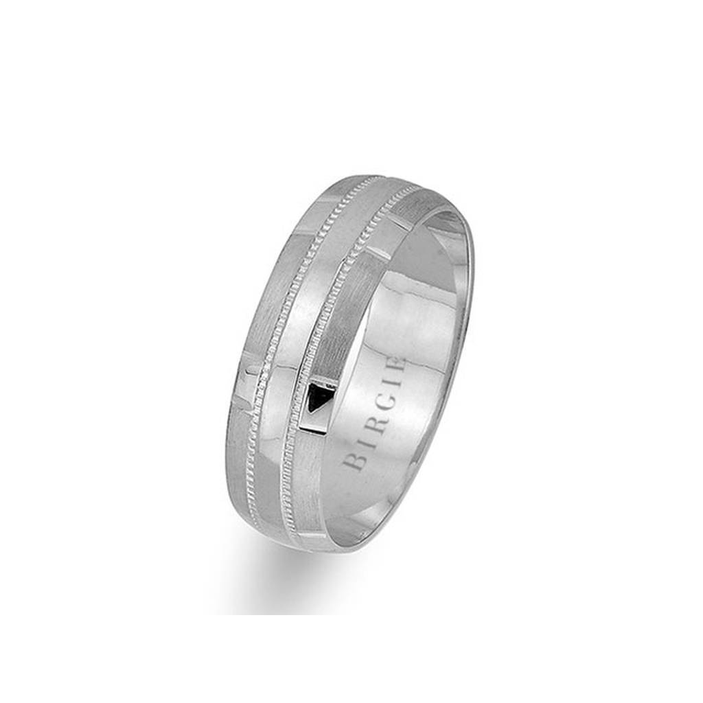 White Gold Patterned Classical Wedding Band