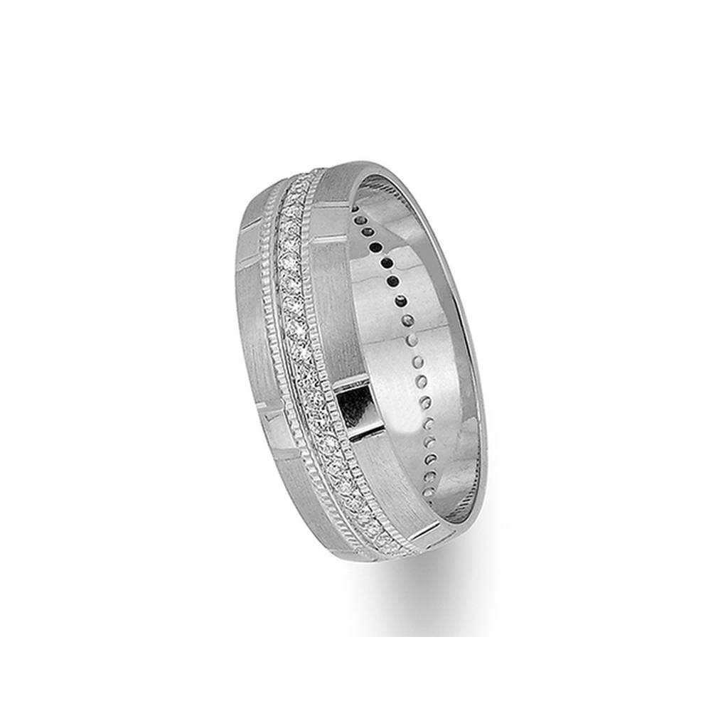 White Gold Patterned Classical Wedding Band w/ Diamonds