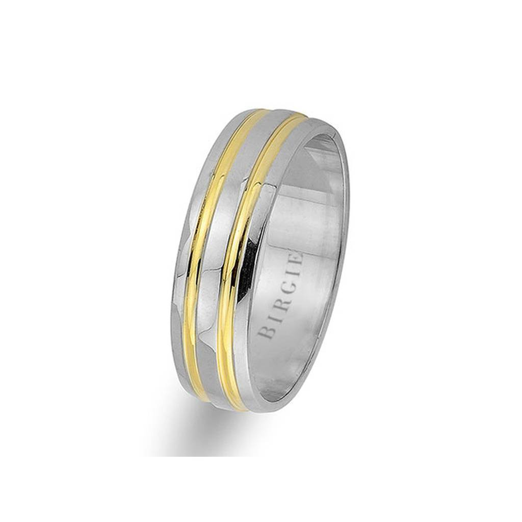 White and Yellow Gold Grooved Classical Wedding Band