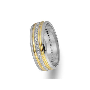 White and Yellow Gold Grooved Classical Wedding Band w/ Diamonds