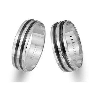 White Gold 2 Colour Classical Wedding Band w/ Diamonds