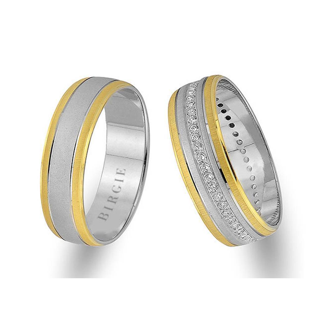 White and Yellow Gold Classical Wedding Band w/ Diamonds