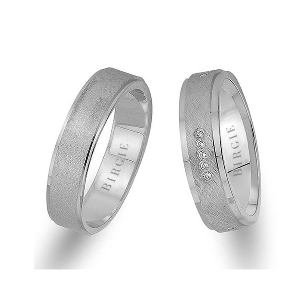 White Gold Grained Wedding Band w/ Diamonds