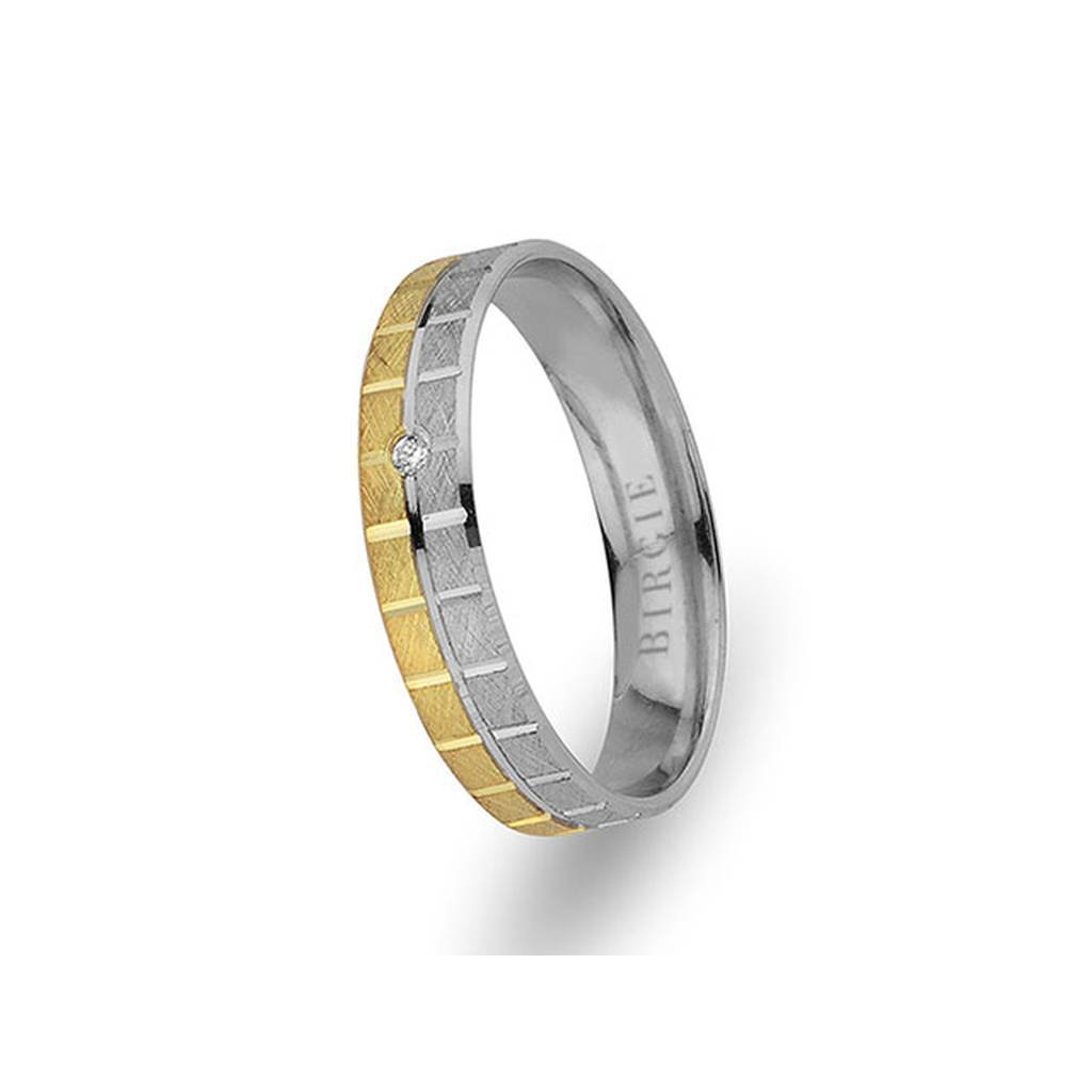 White and Yellow Gold Classical Wedding Band w/ Single Diamond