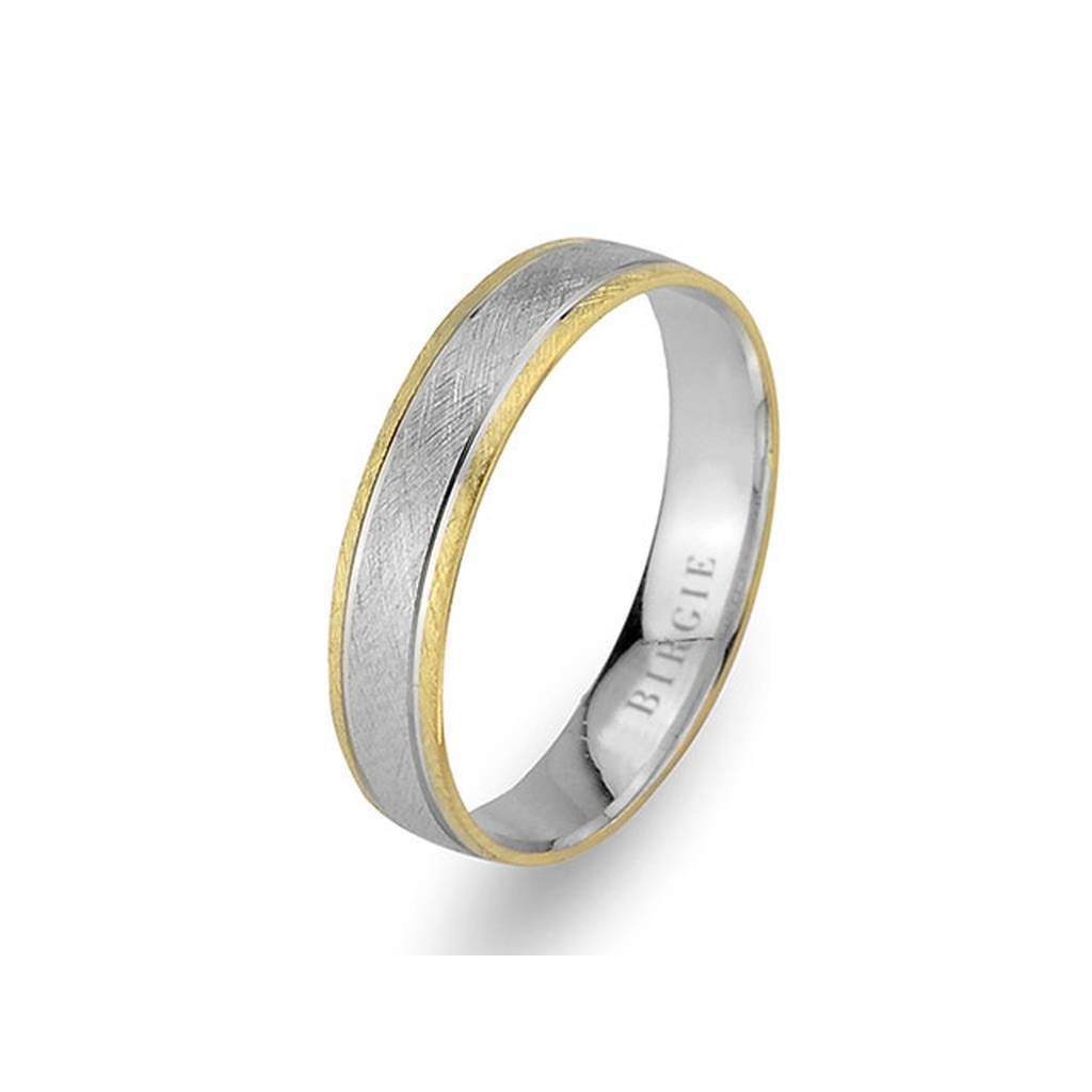 White and Yellow Gold Matt Classical Wedding Band