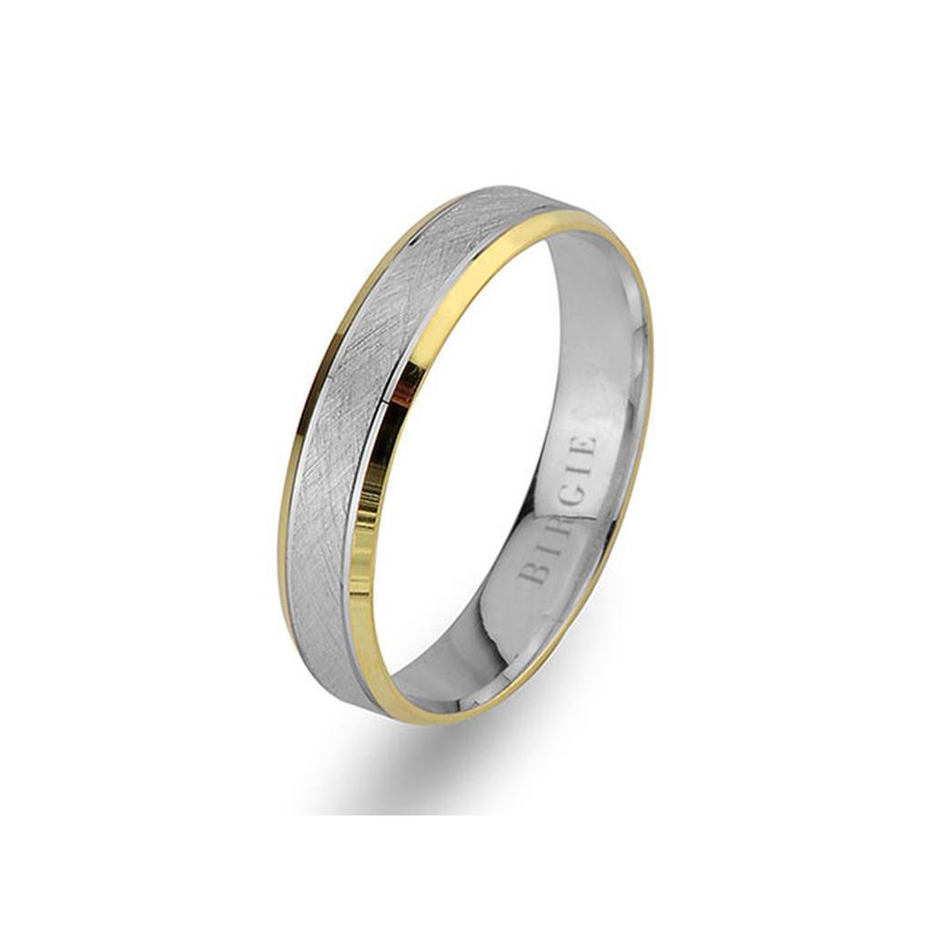 White and Yellow Gold Classical Wedding Band