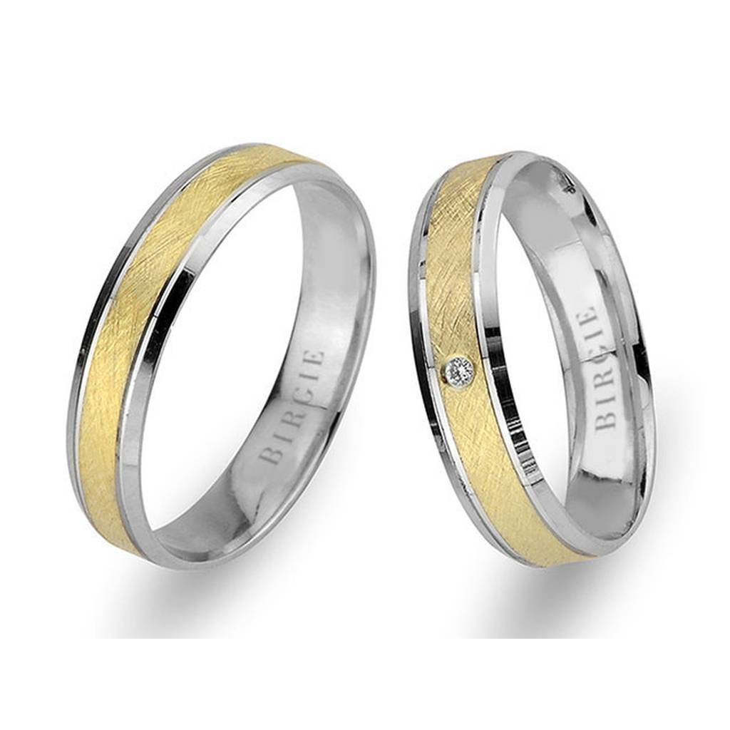 White and Yellow Gold Matt Classical Wedding Band w/ Single Diamond