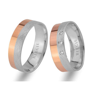 White and Rose Gold Classical Wedding Band w/ Diamonds