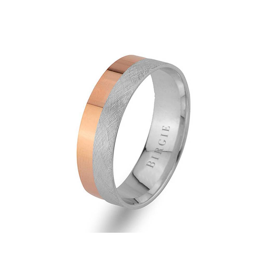 White and Rose Gold Classical Wedding Band
