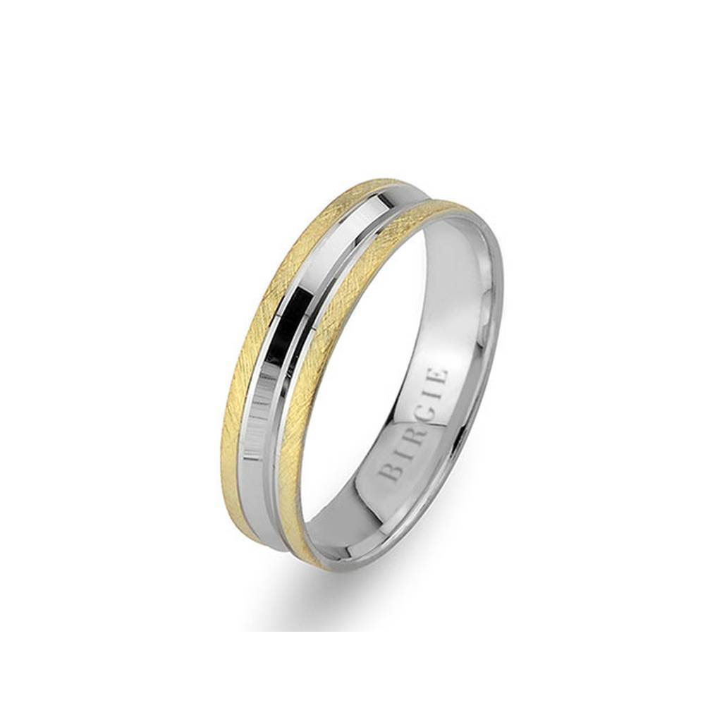 White and Yellow Gold Matt Classical Grooved Wedding Band
