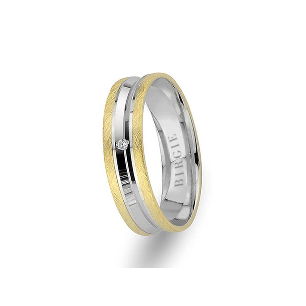 White and Yellow Gold Matt Classical Grooved Wedding Band w/ Single Diamond