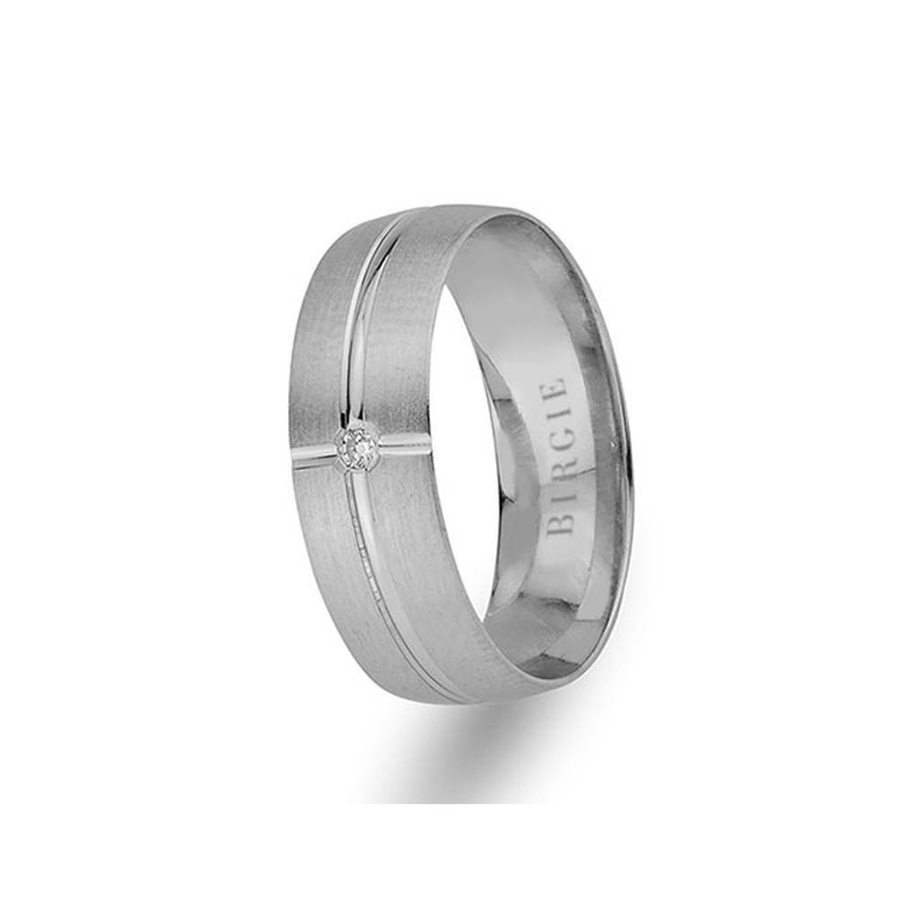 White Gold Matt Classical Wedding Band w/ Single Diamond