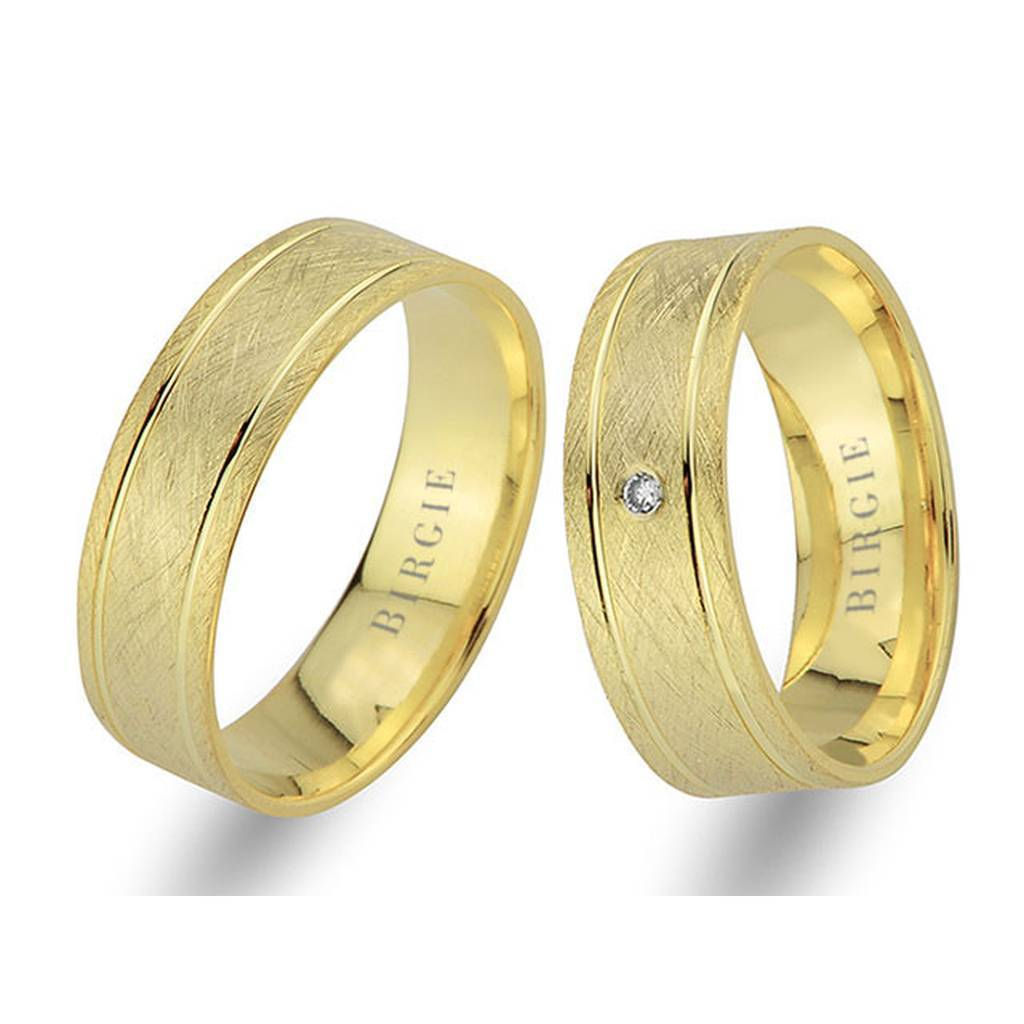 Yellow Gold Matt Classical Wedding Band w/ Single Diamond