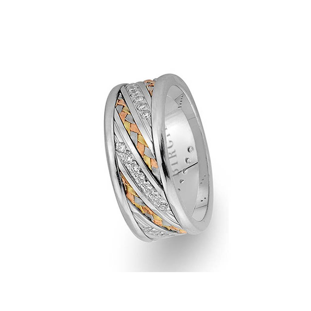 Braided Design White and Yellow Gold 3 Coloured Wedding Band w/ Diamonds