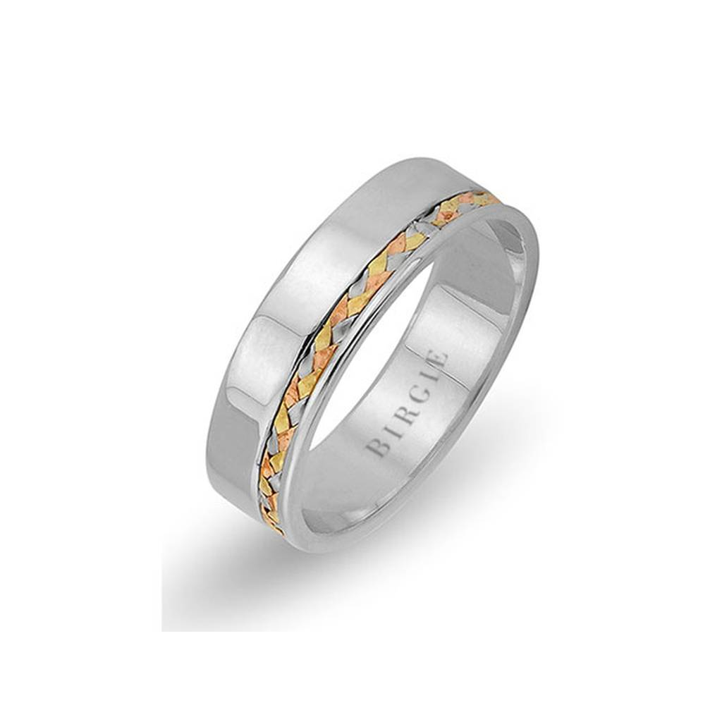 Braided Design White Gold 3 Coloured Wedding Band
