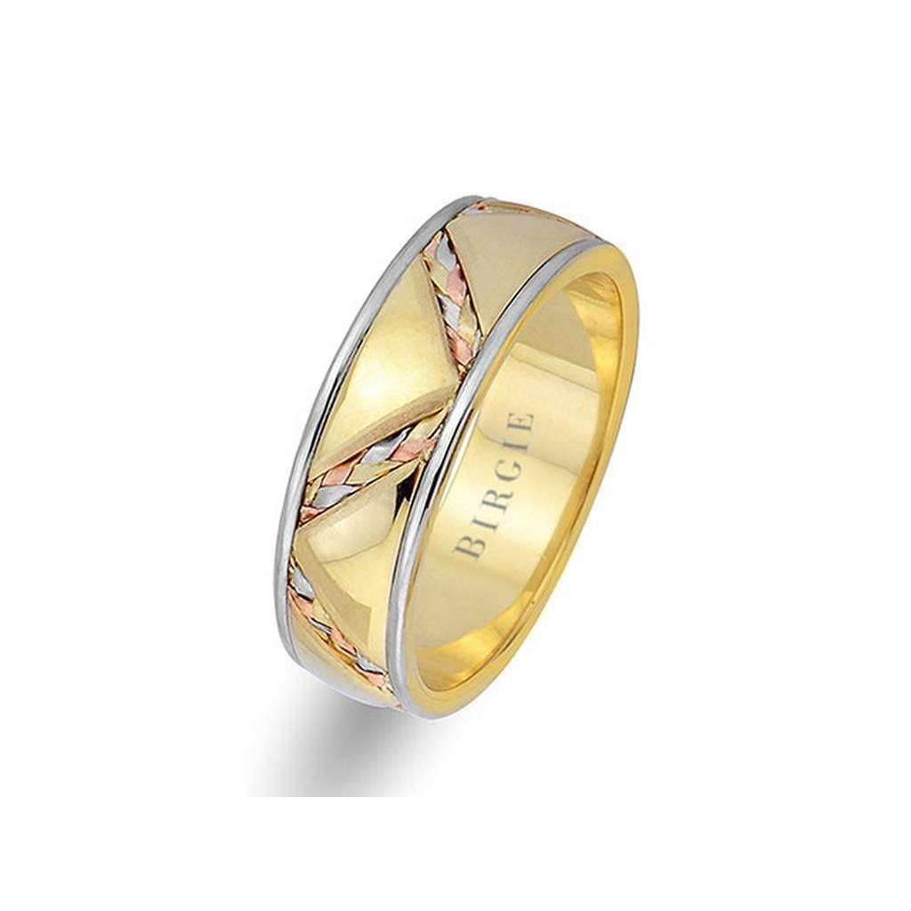 Diagonal Braided Design Yellow Gold 3 Coloured Wedding Band