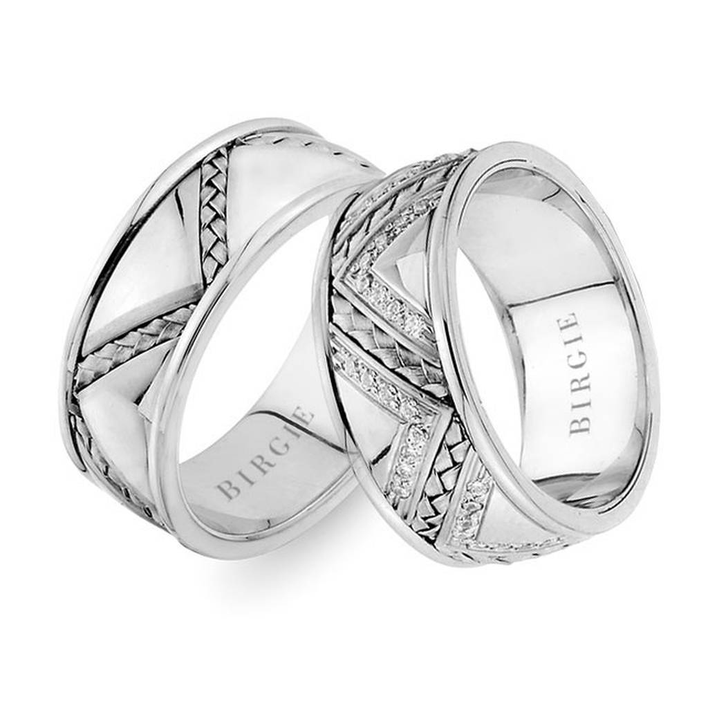 Diagonal Braided Design White Gold 3 Coloured Wedding Band w/ Diamonds