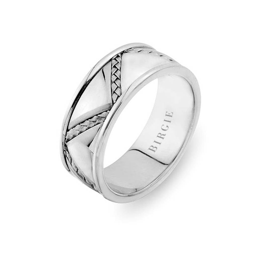 Diagol Braided Design White Gold 3 Coloured Wedding Band