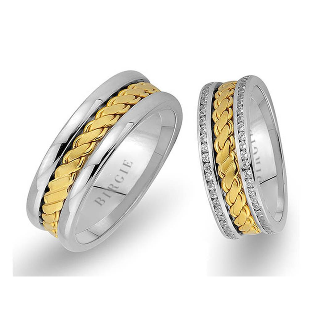 Twirling Design White and Yellow Gold Wedding Band w/ Twin Line Diamonds