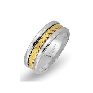 Twirling Design White and Yellow Gold Wedding Band