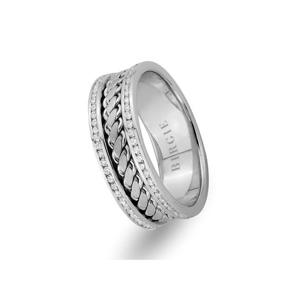 Twirling Design White Gold Wedding Band w/ Twin Line Diamonds