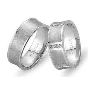 Sanded White Gold Concave Wedding Band w/ Diamonds