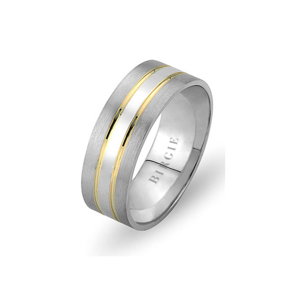 White and Yellow Gold Concave Wedding Band
