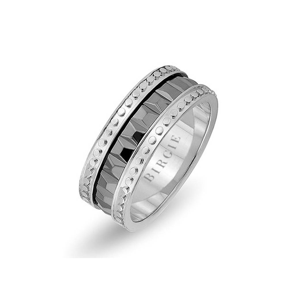 White Gold Geometric Formed Wedding Band