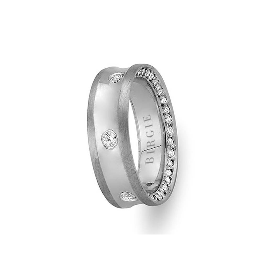 White Gold Concave Wedding Band w/ Diamonds