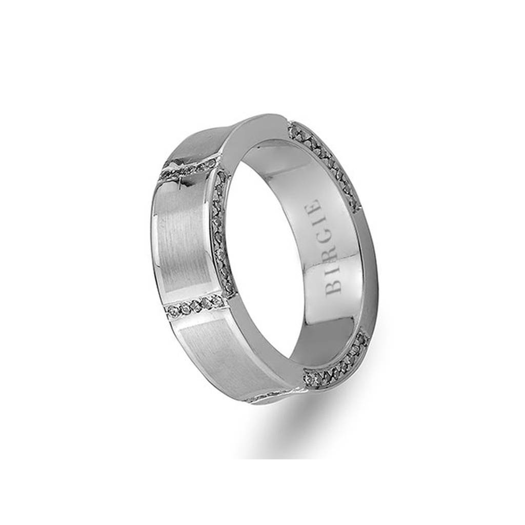 White Gold Wedding Band w/ Diamonds