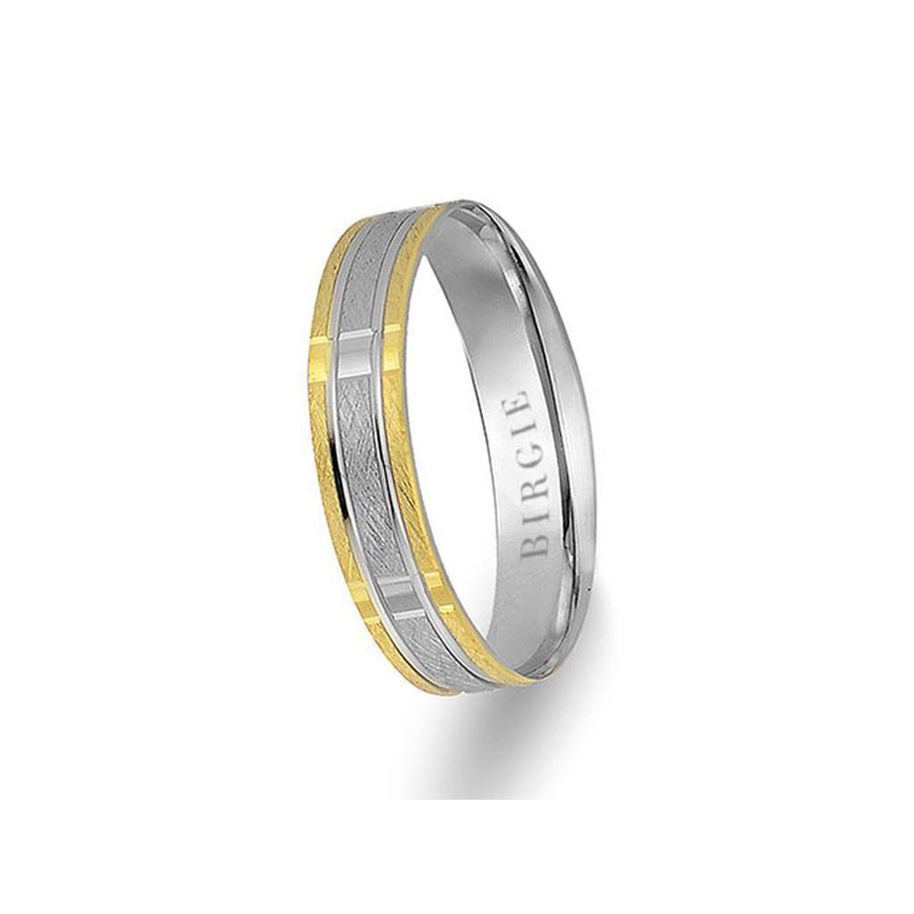 White and Yellow Gold Persepolis Wedding Band