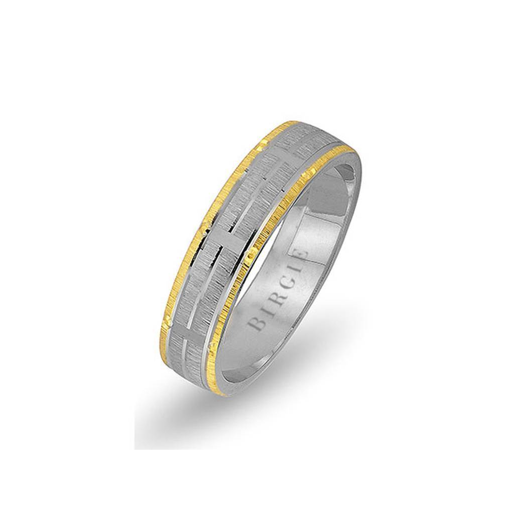 White and Yellow Gold Akropolis Wedding Band