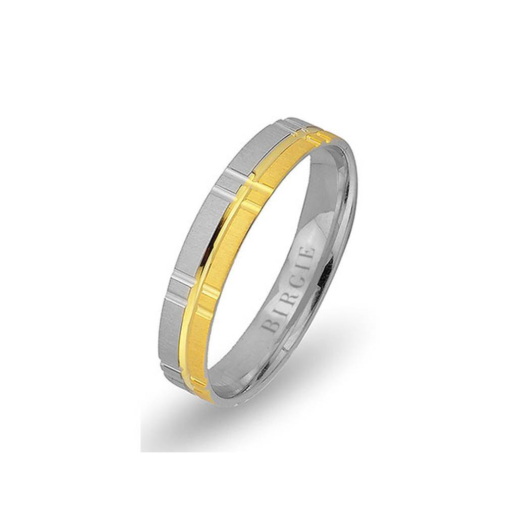 White and Yellow Gold Ugarit Wedding Band
