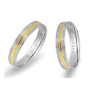 White and Yellow Gold Memphis Wedding Band