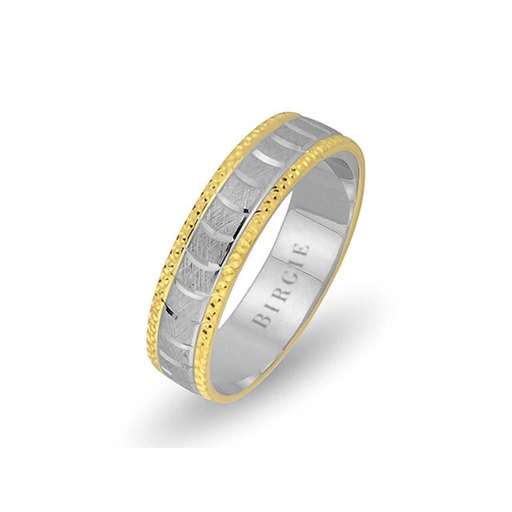 White and Yellow Gold Nemrut Wedding Band