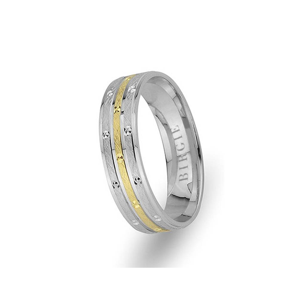 White and Yellow Gold Olympos Wedding Band