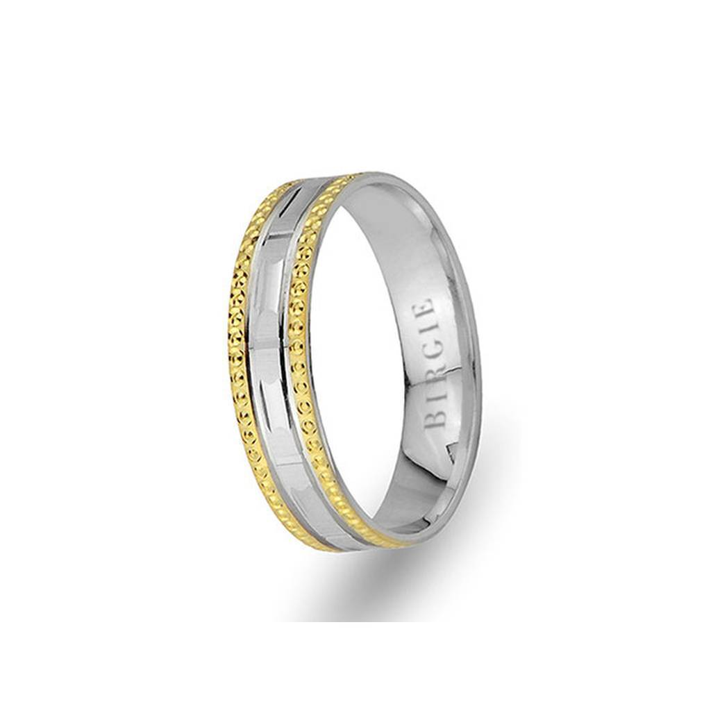 White and Yellow Gold Smyrna Wedding Band