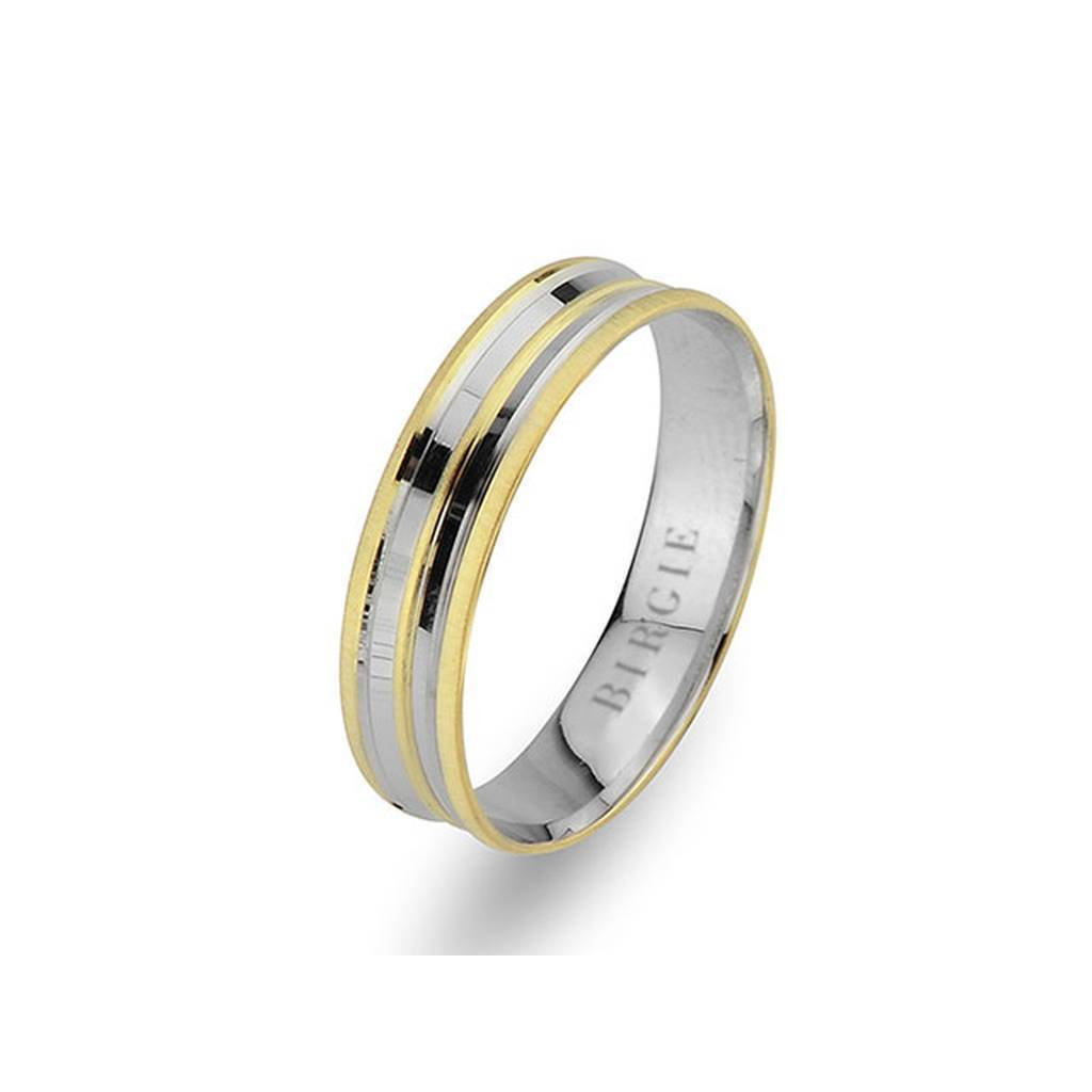White and Yellow Gold Nysa Wedding Band