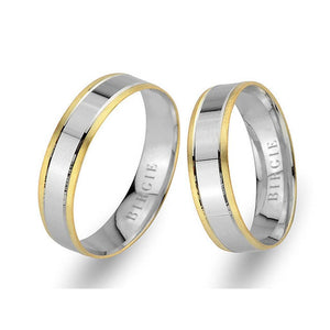 White and Yellow Gold Hevsel Wedding Band