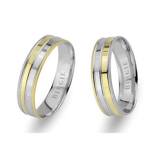 White and Yellow Gold Harran Wedding Band