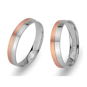 White and Rose Gold Machu Picchu Wedding Band