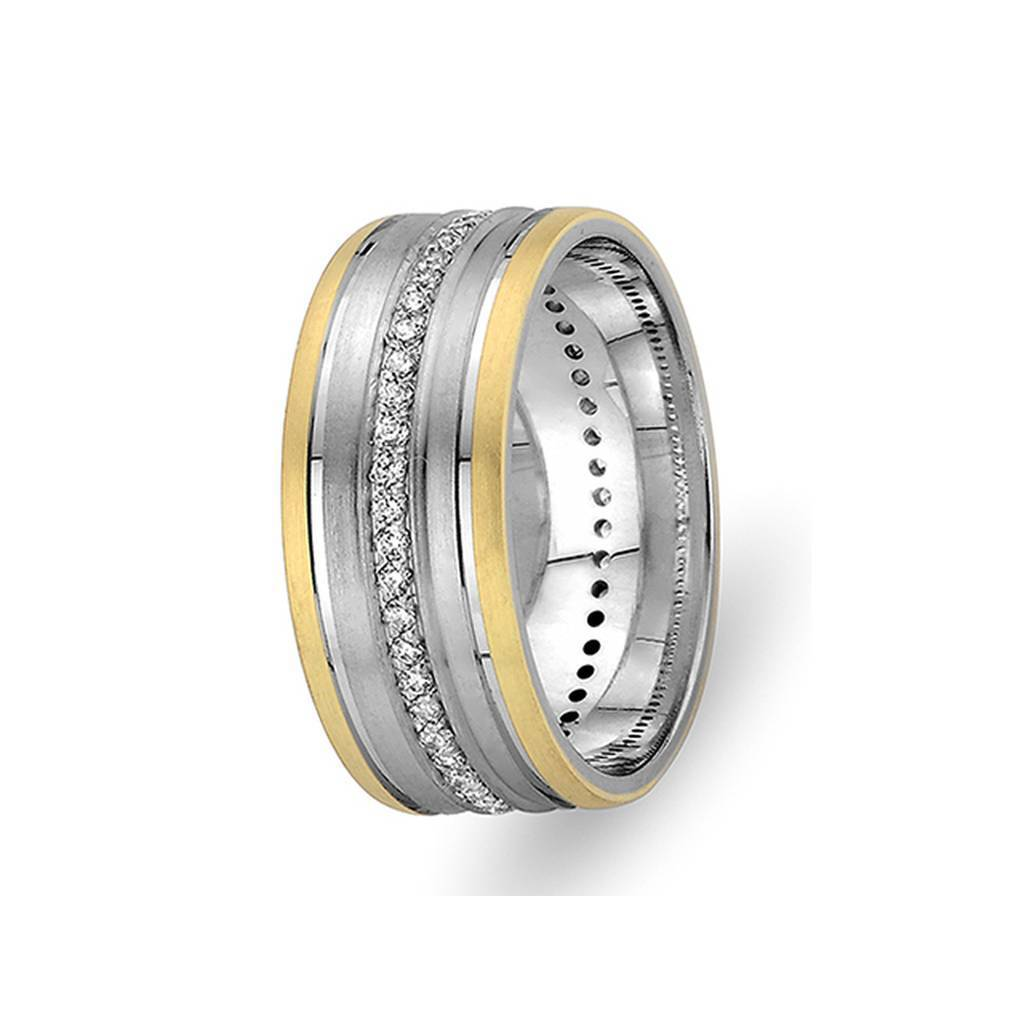 Yellow and White Gold Uranus Wedding Band w/ Twin Line Diamonds
