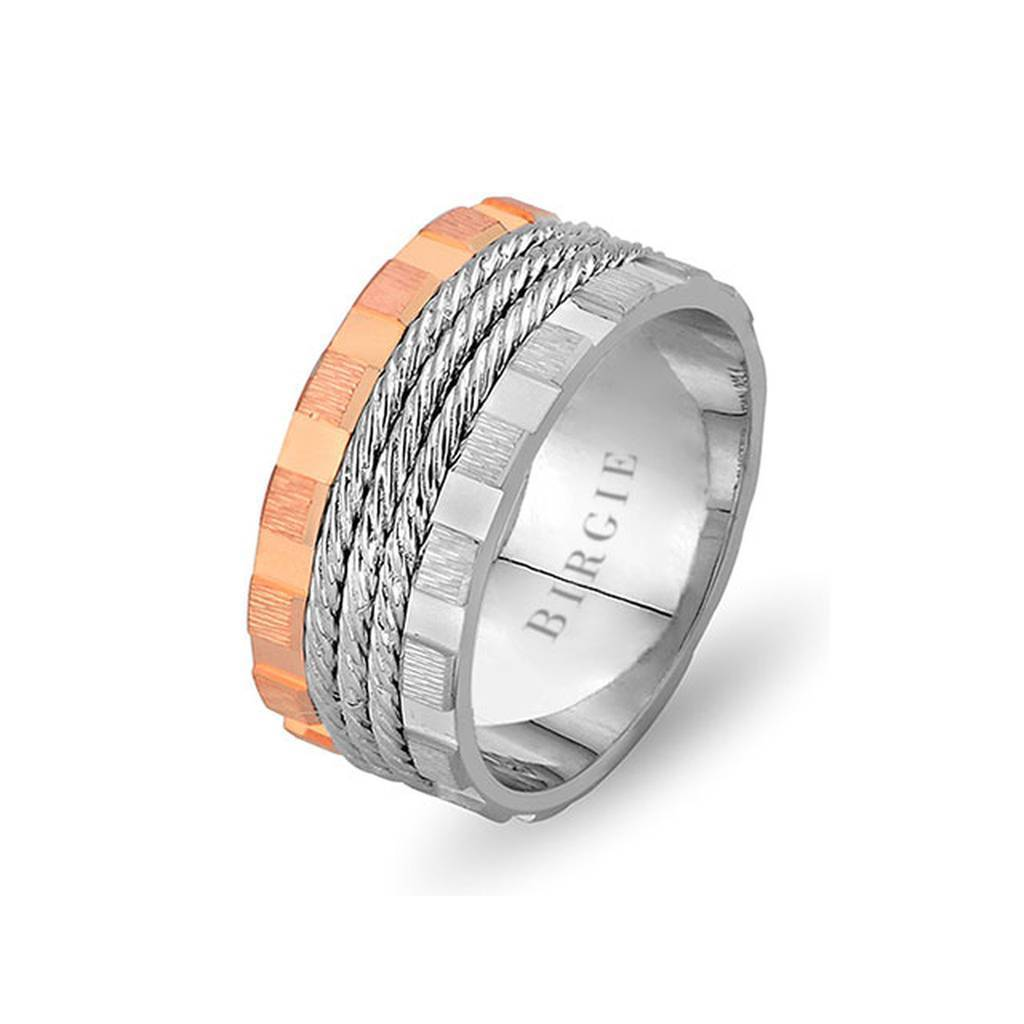 Rose and White Gold North Wedding Band