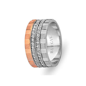 Rose and White Gold North Wedding Band w/ Twin Line Diamonds