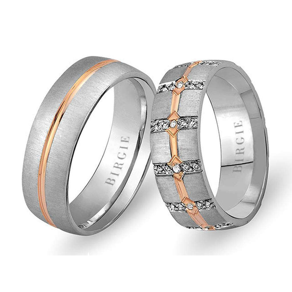 White and Rose Gold West Wedding Band w/ Diamonds
