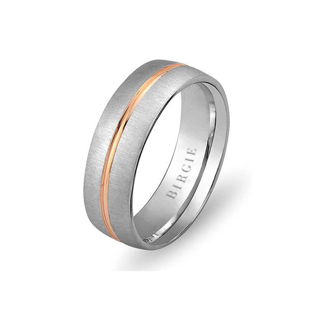 White and Rose Gold West Wedding Band