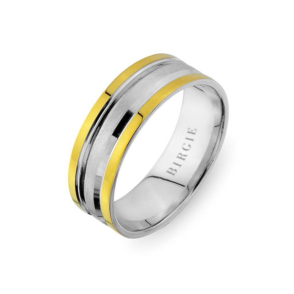 White and Yellow Gold South Wedding Band